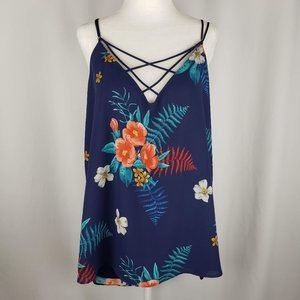 Express Blue Floral Strappy Tank Top L